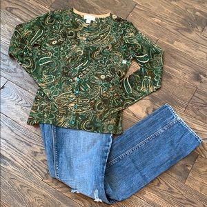 Ann Taylor Loft Green/Brown Paisley Cardigan XS
